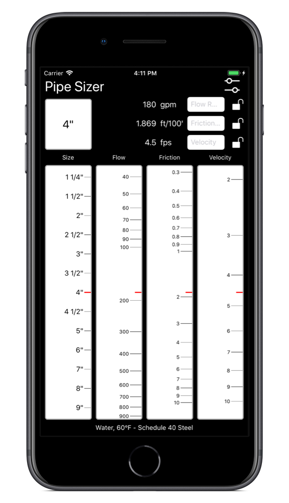 Pipe Sizer App for iPhone and iPad - Pheinex, LLC